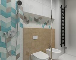 Wilanów - 100m2 - Mała biała turkusowa łazienka w domu jednorodzinnym, styl skandynawski - zdjęcie od TutajConcept