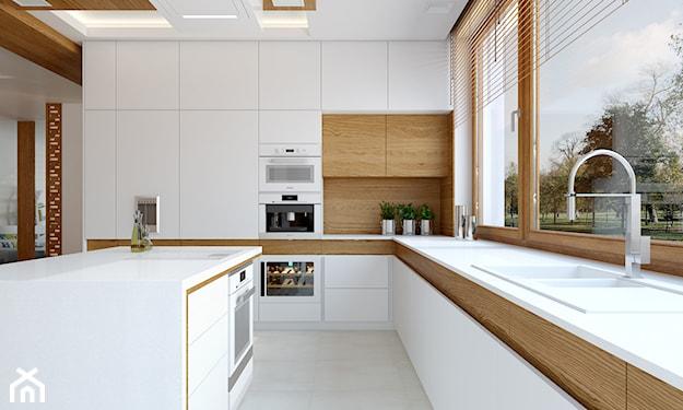 biała kuchnia z drewnianymi akcentami, kuchnia skandynawska