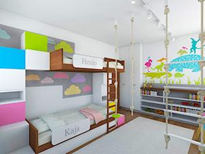 Średni biały turkusowy różowy niebieski zielony kolorowy pokój dziecka dla chłopca dla dziewczynki dla rodzeństwa dla malucha, styl nowoczesny - zdjęcie od TutajConcept