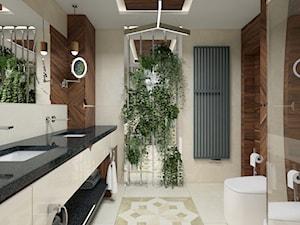 Piaseczno, ul. Książąt Mazowieckich - Średnia beżowa brązowa łazienka w domu jednorodzinnym z oknem, styl nowoczesny - zdjęcie od TutajConcept