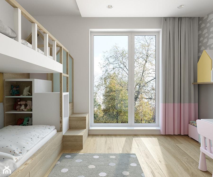 Wilanów - 100m2 - Średni szary beżowy pokój dziecka dla dziewczynki dla rodzeństwa dla malucha, styl skandynawski - zdjęcie od TutajConcept