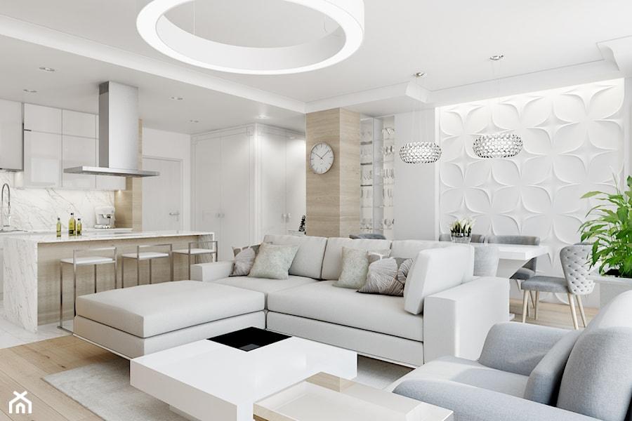 Z nutą glamour - Średni biały salon z barkiem z kuchnią z jadalnią, styl glamour - zdjęcie od TutajConcept