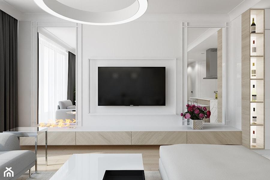 Z nutą glamour - Mały biały salon z barkiem z kuchnią, styl glamour - zdjęcie od TutajConcept