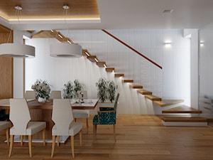 KWIRYNÓW - Średnia otwarta biała jadalnia w salonie, styl nowoczesny - zdjęcie od TutajConcept