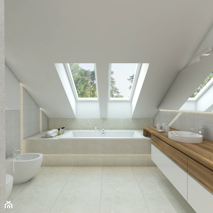 USTANÓW - Duża biała łazienka na poddaszu w domu ...