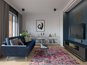 Bohema 70m2 - Średni biały niebieski turkusowy salon, styl eklektyczny - zdjęcie od TutajConcept