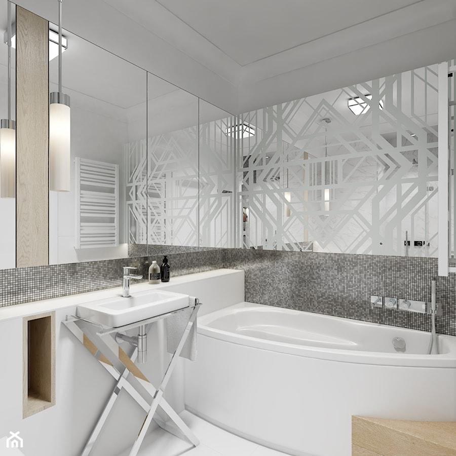 Z nutą glamour - Mała łazienka w bloku w domu jednorodzinnym bez okna, styl glamour - zdjęcie od TutajConcept