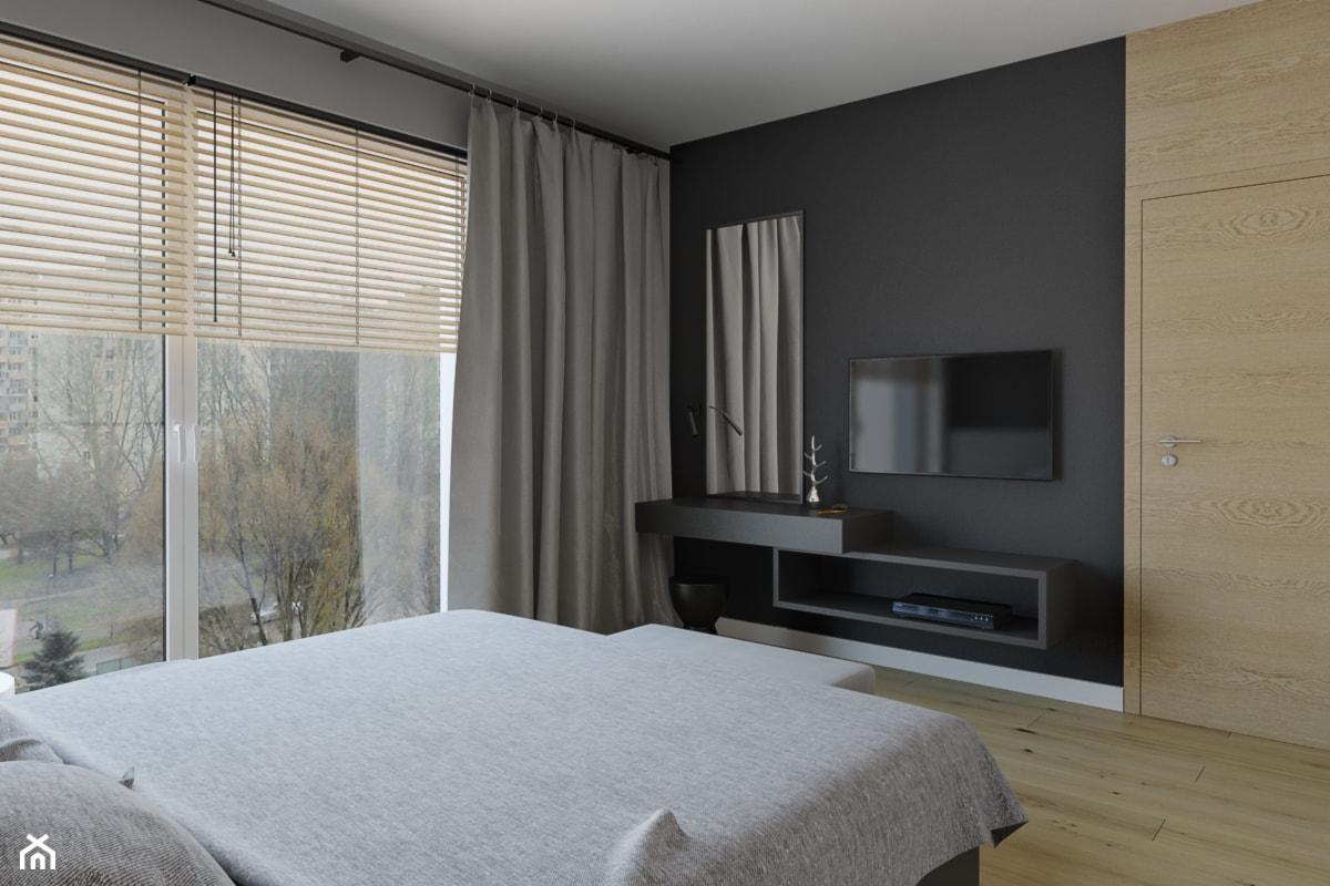 Średnia szara czarna sypialnia małżeńska, styl nowoczesny - zdjęcie od TutajConcept - Homebook
