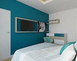 Wilanów - 100m2 - Mała biała turkusowa sypialnia małżeńska, styl skandynawski - zdjęcie od TutajConcept