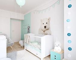 Z nutą glamour - Średni biały zielony pokój dziecka dla chłopca dla dziewczynki dla niemowlaka, styl skandynawski - zdjęcie od TutajConcept