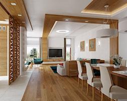 KWIRYNÓW - Duża otwarta biała jadalnia w salonie, styl nowoczesny - zdjęcie od TutajConcept