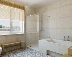 Średnia beżowa łazienka w domu jednorodzinnym z oknem, styl nowoczesny - zdjęcie od TutajConcept