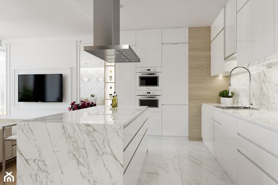 Z nutą glamour - Duża otwarta biała kuchnia w kształcie litery l w aneksie z wyspą, styl glamour - zdjęcie od TutajConcept
