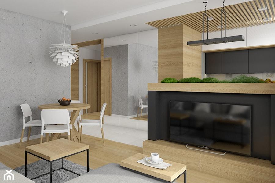 Warszawa, PARK LEŚNY - Mały szary biały salon z kuchnią z jadalnią, styl nowoczesny - zdjęcie od TutajConcept