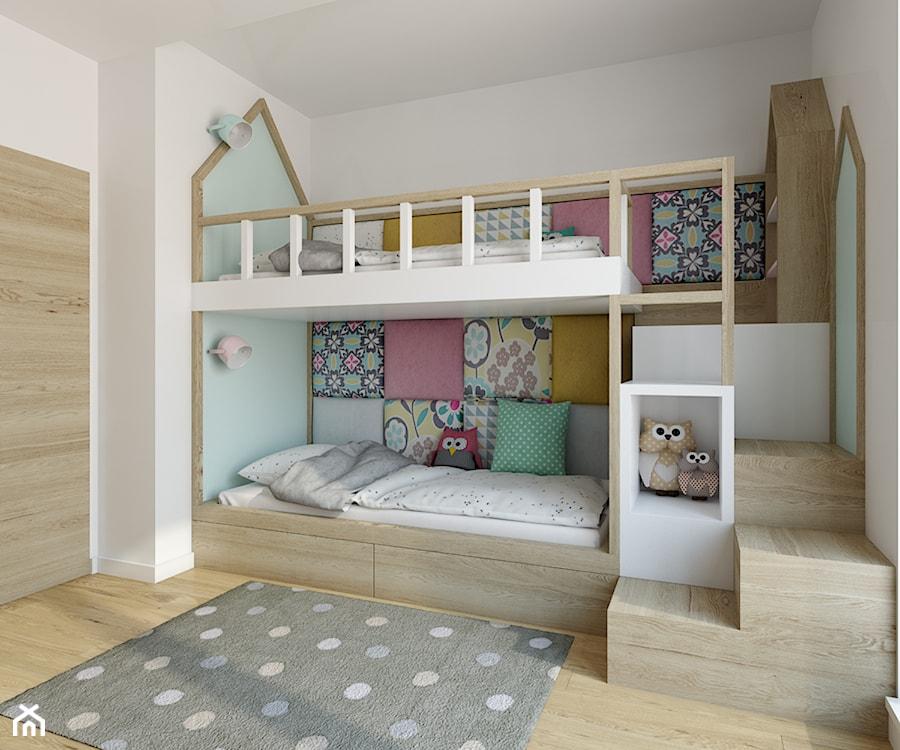 Wilanów - 100m2 - Średni biały pastelowy miętowy pokój dziecka dla dziewczynki dla rodzeństwa dla malucha, styl skandynawski - zdjęcie od TutajConcept
