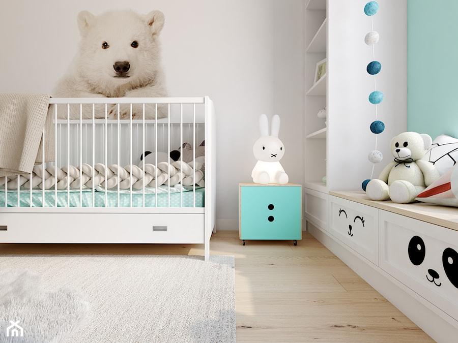 Z nutą glamour - Mały szary zielony pokój dziecka dla chłopca dla dziewczynki dla niemowlaka, styl skandynawski - zdjęcie od TutajConcept