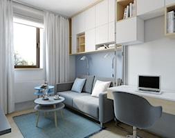Józefosław - 100m2 - Małe niebieskie białe biuro kącik do pracy w pokoju, styl skandynawski - zdjęcie od TutajConcept
