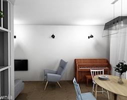 Bliźniak Łódź - Średnia otwarta biała jadalnia w salonie, styl skandynawski - zdjęcie od Projektownia Marzena Dąbrowska
