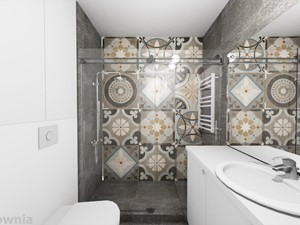 Apartament Tobaco Park 2 - Średnia biała szara łazienka w bloku w domu jednorodzinnym bez okna, styl industrialny - zdjęcie od Projektownia Marzena Dąbrowska