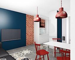 Apartament Tobaco Park 2 - Średni biały turkusowy salon z kuchnią z jadalnią, styl industrialny - zdjęcie od Projektownia Marzena Dąbrowska