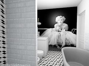 Bliźniak Łódź - Średnia biała szara łazienka w bloku w domu jednorodzinnym bez okna, styl eklektyczny - zdjęcie od Projektownia Marzena Dąbrowska