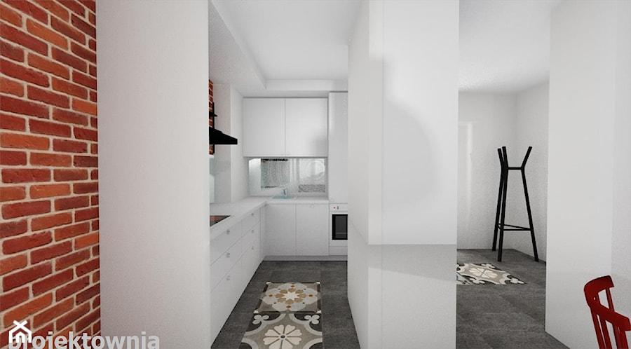 Apartament Tobaco Park 2 - Średnia otwarta biała kuchnia w kształcie litery l, styl industrialny - zdjęcie od Projektownia Marzena Dąbrowska