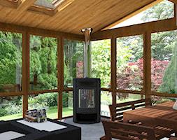 Ogród zimowy - Duży taras z tyłu domu, styl klasyczny - zdjęcie od Design Factory Studio Projektowe