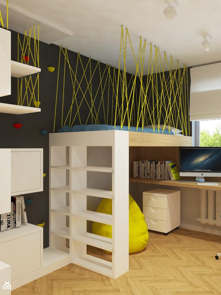 Nowe mieszkanie w starym bloku - Mały szary czarny pokój dziecka dla chłopca dla dziewczynki dla ucznia dla malucha dla nastolatka, styl nowoczesny - zdjęcie od Design Factory Studio Projektowe
