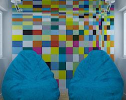 Osiedle Moderna Łódź - Mały biały kolorowy hol / przedpokój, styl nowoczesny - zdjęcie od Design Factory Studio Projektowe
