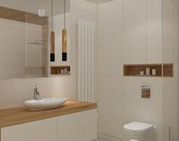 Mieszkanie w ciepłym skandynawskim stylu - Średnia beżowa łazienka w bloku w domu jednorodzinnym bez okna, styl skandynawski - zdjęcie od Design Factory Studio Projektowe
