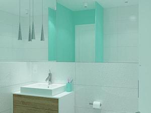 Trzy pokoje na Teofilowie - Mała miętowa łazienka w bloku w domu jednorodzinnym bez okna, styl nowoczesny - zdjęcie od Design Factory Studio Projektowe