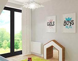 Dom jednorodzinny na Rataja - Mały szary pokój dziecka dla chłopca dla dziewczynki dla rodzeństwa dla malucha dla nastolatka, styl skandynawski - zdjęcie od Design Factory Studio Projektowe