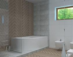 Dom w Smardzewicach - Duża łazienka w bloku w domu jednorodzinnym jako salon kąpielowy z oknem, styl skandynawski - zdjęcie od Design Factory Studio Projektowe