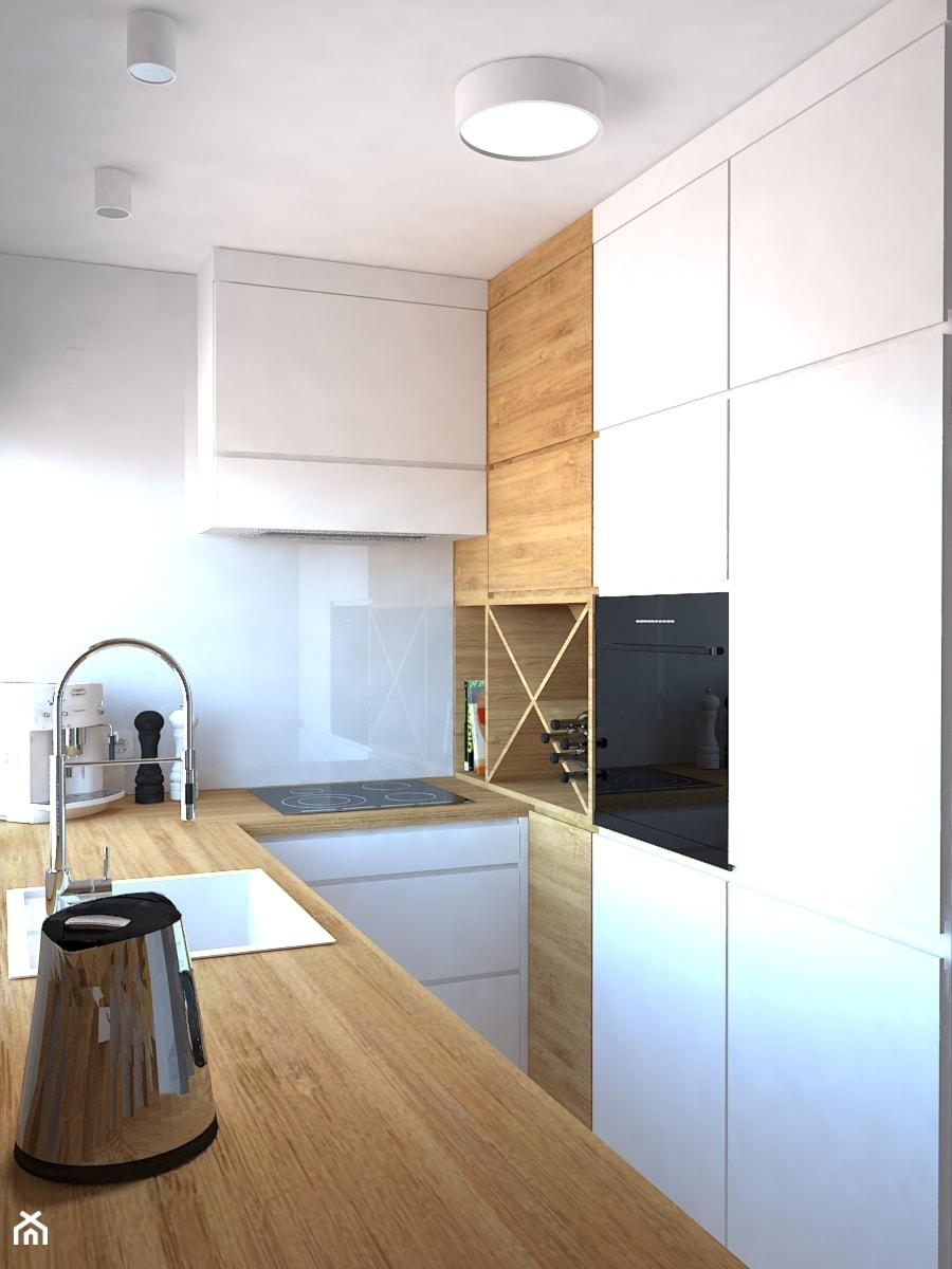Trzy pokoje na Teofilowie - Średnia zamknięta wąska szara kuchnia w kształcie litery u, styl skandynawski - zdjęcie od Design Factory Studio Projektowe