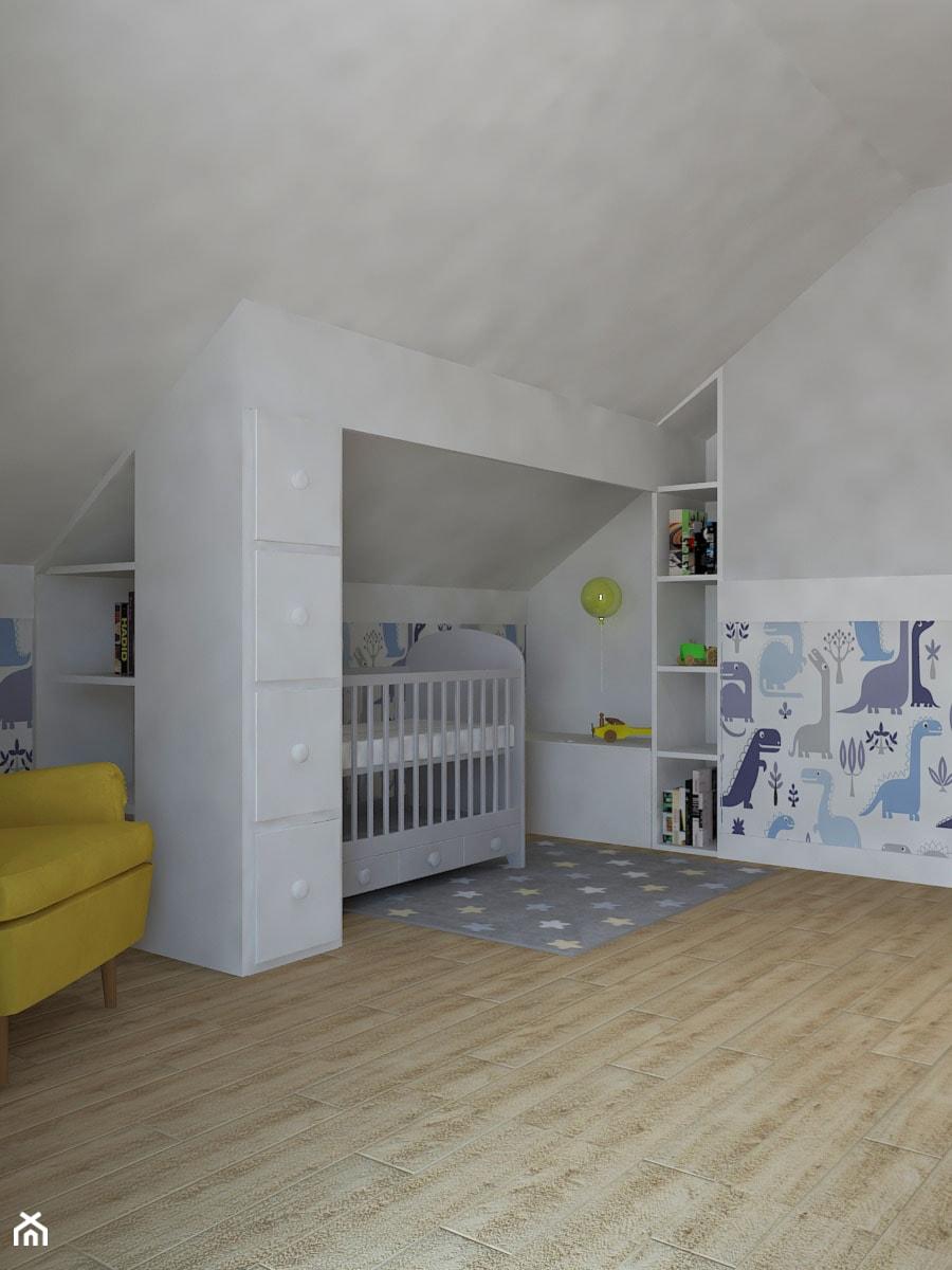 Dom jednorodzinny na obrzeżach Łodzi - Średni szary pokój dziecka dla chłopca dla dziewczynki dla niemowlaka, styl klasyczny - zdjęcie od Design Factory Studio Projektowe