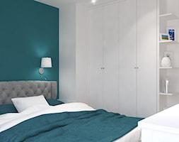 Dom jednorodzinny na Rataja - Średnia biała turkusowa sypialnia małżeńska na poddaszu, styl skandynawski - zdjęcie od Design Factory Studio Projektowe