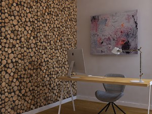 Dom w Smardzewicach - Małe szare biuro pracownia kącik do pracy, styl skandynawski - zdjęcie od Design Factory Studio Projektowe