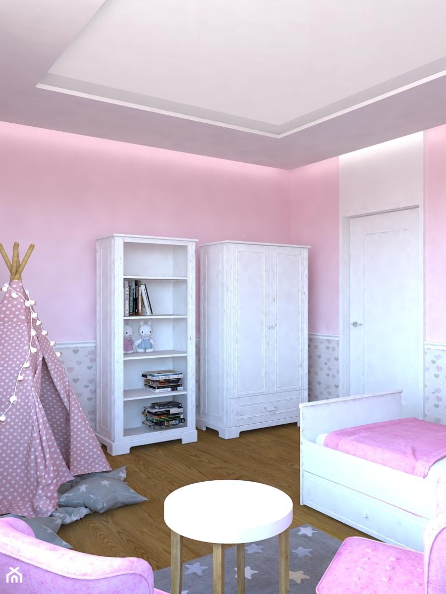 Dom w Smardzewicach - Mały beżowy różowy pokój dziecka dla dziewczynki dla malucha, styl klasyczny - zdjęcie od Design Factory Studio Projektowe