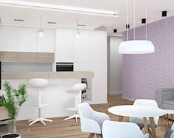 Apartament na Rudzkiej - Fioletowy salon z kuchnią z jadalnią, styl skandynawski - zdjęcie od Design Factory Studio Projektowe