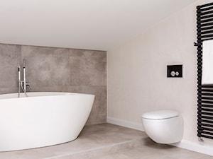 Poddasze w Kamienicy - Średnia beżowa łazienka na poddaszu w domu jednorodzinnym bez okna, styl nowoczesny - zdjęcie od Design Factory Studio Projektowe