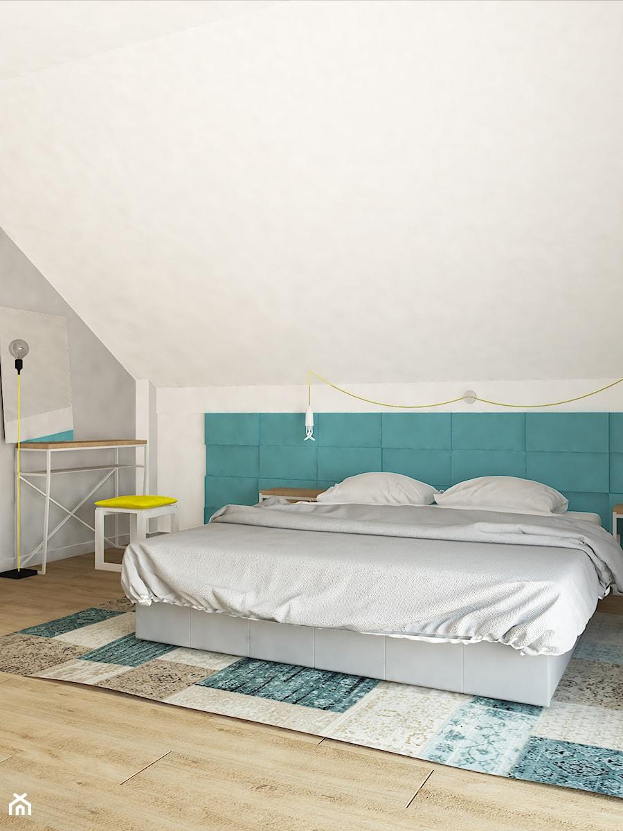 Dom jednorodzinny na obrzeżach Łodzi - Średnia biała szara sypialnia małżeńska na poddaszu, styl skandynawski - zdjęcie od Design Factory Studio Projektowe