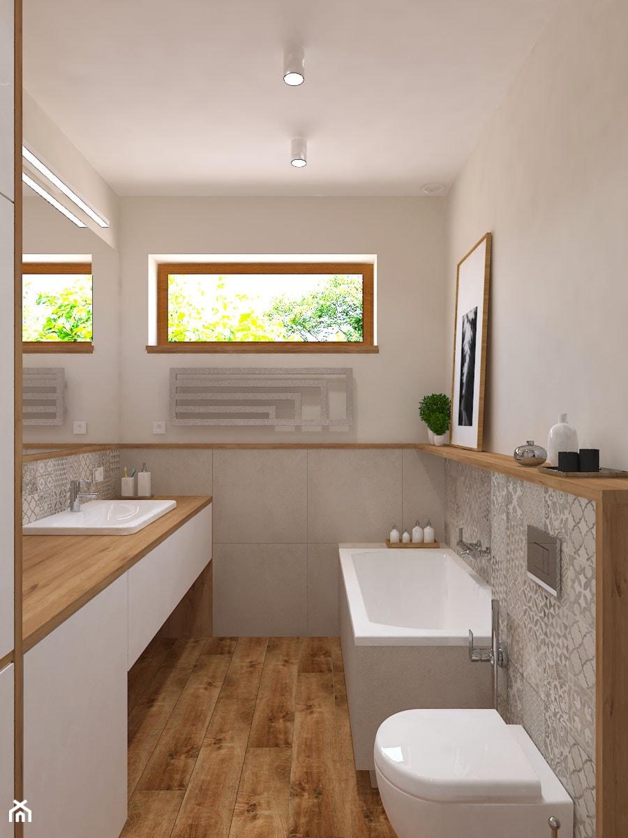 Dom jednorodzinny w Konstantynowie - Średnia beżowa łazienka w bloku w domu jednorodzinnym z oknem, styl skandynawski - zdjęcie od Design Factory Studio Projektowe