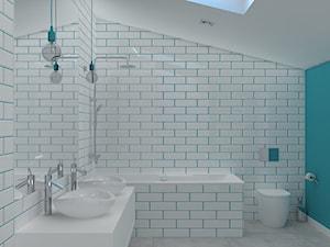 Łazienki w apartamencie - Duża niebieska łazienka na poddaszu w domu jednorodzinnym z oknem, styl nowoczesny - zdjęcie od Design Factory Studio Projektowe