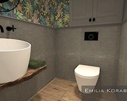 ŁAZIENKI - Mała szara łazienka w bloku w domu jednorodzinnym bez okna, styl vintage - zdjęcie od Emilia Korabiec Design