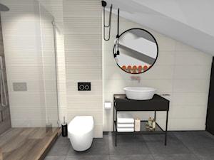 ŁAZIENKI - Średnia biała czarna łazienka na poddaszu w domu jednorodzinnym bez okna, styl industrialny - zdjęcie od Emilia Korabiec Design