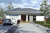 biały dom jednorodzinny ze spadzistym dachem