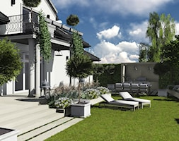 kompleksowy projekt: ogród, elewacja, ogrodzenie - Duży ogród za domem, styl nowoczesny - zdjęcie od KOKON zespół architektoniczny