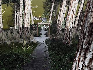 Ogród na skarpie nad jeziorem