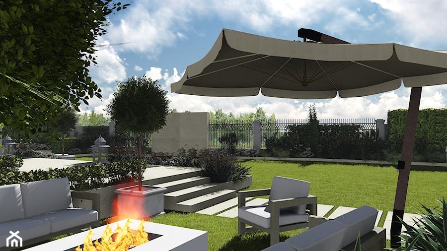 kompleksowy projekt: ogród, elewacja, ogrodzenie - Średni ogród za domem z parasolem, styl nowoczesny - zdjęcie od KOKON zespół architektoniczny