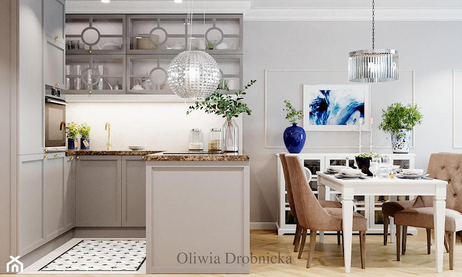 Klasyczna elegancja w nowoczesnym wydaniu - Mała szara kuchnia w kształcie litery u w aneksie z wyspą, styl klasyczny - zdjęcie od Projektowanie Wnętrz Oliwia Drobnicka